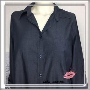 IZod Button down Shirt, Charcoal, Medium